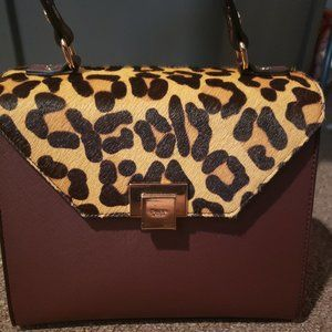 Dune london cheetah print/red faux leather purse